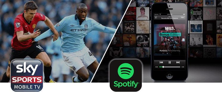 sky sports and spotify premium available on Vodafone RED