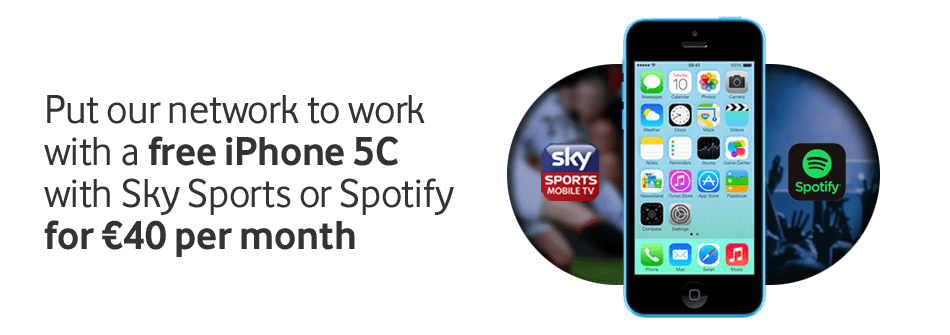 Put our network to work with free iPhone 5C with Sky Sports or Spotify