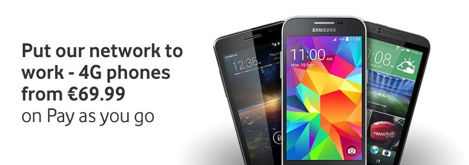 New 4G Smartphones from €69.99 on pay as you go
